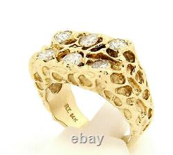 Vintage 14k Yellow Gold Nugget Mens Ring with 1.08 ctw Diamonds Size 8.25 Custom