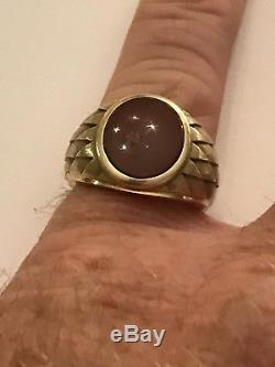 Vintage 14k Yellow Gold Oval 14x12mm Carnelian Mans Ring Size 9 9.6 Grams