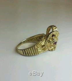 Vintage 14k Yellow Gold Ram Ring With Ruby Eyes Mens Mans
