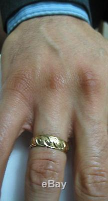 Vintage 14k solid yellow gold patterned Men's wedding band ring size 9.5