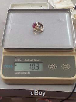 Vintage 14kt Yellow Gold Approx. 15ct Cabochon Mans Ruby Ring