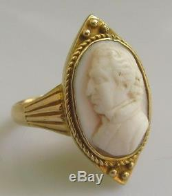 Vintage 15ct yellow gold man set in an oval coral cameo ring size I 1/2