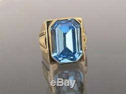 Vintage 18K Solid Yellow Gold Blue Topaz Men's Ring Size 10.25