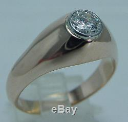 Vintage 18K Yellow Gold. 75ct VVS2 GH Solitaire Diamond Ring for Man