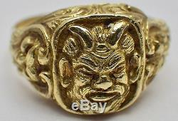 Vintage 18K Yellow Gold Men's Horned Beast Ring withSide Jesters 13.6 Grams SZ 12