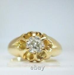 Vintage 18ct Yellow Gold. 65ct Old Mine Cut Solitaire Diamond Gypsy Ring Mens