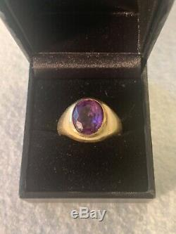 Vintage 18k Gold Mens Estate Ring Corletto Italy Giant Amethyst Pinky 8g 10.5