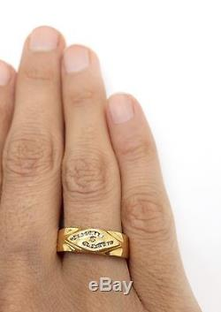 Vintage 18k Solid Yellow Gold Diamond Mens Ring 6MM Size 7.75 Wedding Band