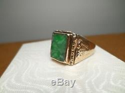 Vintage 18k Solid Yellow Gold Natural Green Jade Jadeite Men's Ring