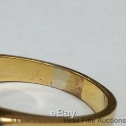 Vintage 18k White Yellow Gold Natural Emerald Mens Pinky Ring