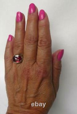 Vintage 1920s Art Deco 14k White Gold Octagonal Ruby Mens Pinky Womens Ring 7.4g