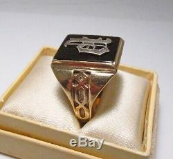 Vintage 1930s Chas Hancock USA Letter P Initial 10K Gold Mens Signet Ring S 10.5