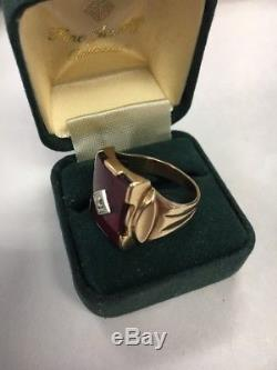 Vintage 1940-50s 10 k Solid Gold Lab Ruby WITH DIAMOND Men' Ring Sz. 9