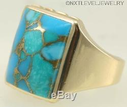 Vintage 1940's SIGNED DASON Mosaic Turquoise 10k Solid Gold Yellow Men's Ring