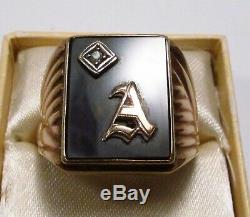 Vintage 1940s Chas Hancock USA Letter A Initial 10K Gold Mens Signet Ring Sz 9.5