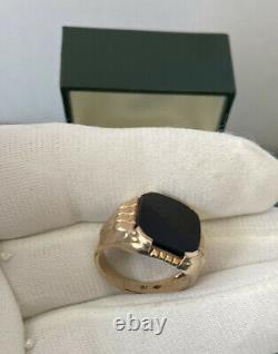 Vintage 1940s Mens 10K Solid Yellow Gold Black Onyx Ring Size 8 Excellent/6.5 g