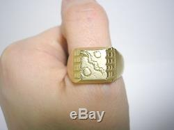 Vintage 1950-60s 18k matted gold men signet ring abstract pattern US size 11