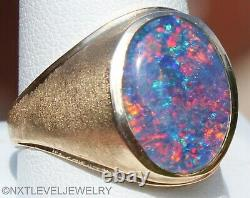 Vintage 1950's LARGE BRIGHT TRUE RAINBOW Natural Opal 10k Solid Gold Men's Ring