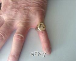 Vintage 1950s 14K Yellow Gold Men's Ring withEngraved Horse's Head size 8.75 18.4g