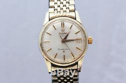 Vintage 1950s Mens Omega Constellation 24 Jewels with Solid Gold Ring Watch