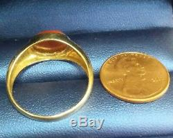 Vintage 1970s 14k Solid Yellow Gold Young Men's Carnelian Ring Sz. 11 W 3.8 gram