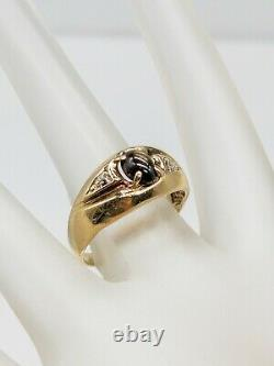 Vintage 1970s 1ct Natural Brown Star Sapphire Diamond 10k Yellow Gold Mens Ring
