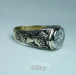 Vintage 2ct Marquise Diamond Man Lion Leo Ring 14K Gold Heavy 23gr Estate
