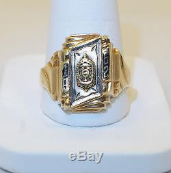 Vintage 8+ Grams 10k Yellow Gold Roescrans High School 1962 Class Mans Ring
