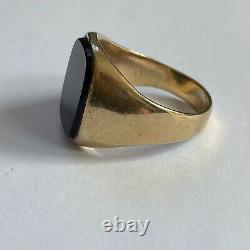 Vintage 9ct Yellow Gold Onyx Signet Ring Heavy 8.79g Size V Mens Gents