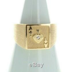 Vintage Ace of spades 14k yellow gold Mens ring poker gambling, luck, signet