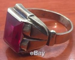 Vintage Antique 10k Yellow Gold Red Glass Men's Ring Size 9.5