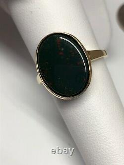 Vintage Antique Hand Fabricated Men's Bloodstone Ring 14K Yellow Gold Size 7.5