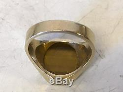 Vintage Antique Possibly Deco Mens 14 Karat Yellow Gold Tiger Eye Ring Size 8.5