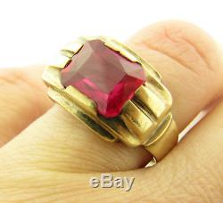 Vintage Art Deco 10k Yellow Gold 3ct Ruby Mens Ring Size 11.25
