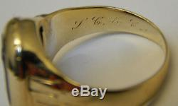 Vintage Art Deco 10k Yellow Gold Carved Mens Ring Stunning! Size 7