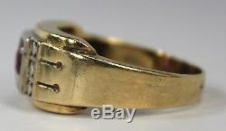 Vintage Art Deco 14K Yellow Gold Man's Men's Ring w 0.5ct Red Spinel c1930s-40s