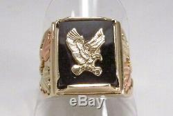 Vintage CCO Coleman Black Hills Gold Co 10K Onyx Eagle Mens Signet Ring Sz 9.75