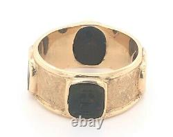 Vintage Egyptian Revival Bloodstone Intaglio 14K Yellow Gold Men's Ring