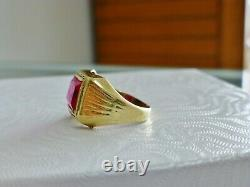 Vintage Emerald Cut Ruby East West Ring Men's 10K Yellow Gold Pinky Ring