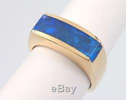 Vintage Estate 14K Yellow Gold Opal Inlaid Men's Band Ring Heavy 18 Grams