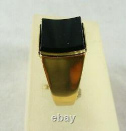 Vintage Estate 9ct/k Yellow Gold Men's Onyx And Gold Dress Ring