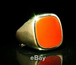 Vintage Estate Fine Natural Carnelian Solid 14k Yellow Gold Mens Signet Ring