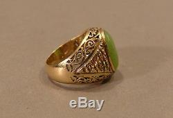 Vintage Estate Large 18K Solid Yellow Gold and Jade Gemstone Cabochon Mens Ring