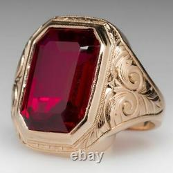 Vintage & Estate Men's Jewelry Ruby Bold Men's Ring in 18K Yellow Gold Over 6. Ct