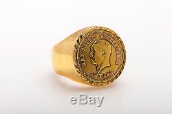 Vintage Genuine 22k Gold TURKEY COIN 14k Yellow Gold Mens Ring Band HEAVY 25.5g