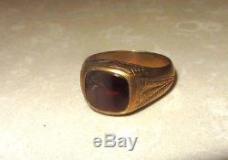 Vintage Gold Ring Men's with chipped stone 14K