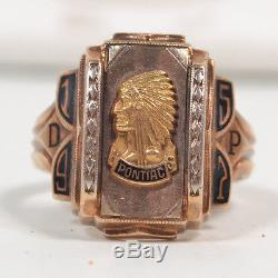 Vintage Heavy 10K Men's Yellow Gold 8.5 Class Ring Pontiac HS Indian Chief 1957