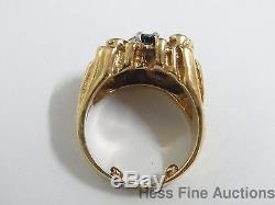 Vintage Heavy 14K Gold Freeform Nugget Natural Sapphire Mens Pinky Ring
