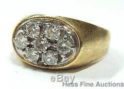 Vintage Heavy 14k Gold 1ctw White Diamond Cluster 1960s Mens Large Ring Size 12