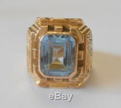 Vintage Heavy Mens Blue Topaz 14K Yellow Gold Ring Aztec Tribal Face Size 9.5